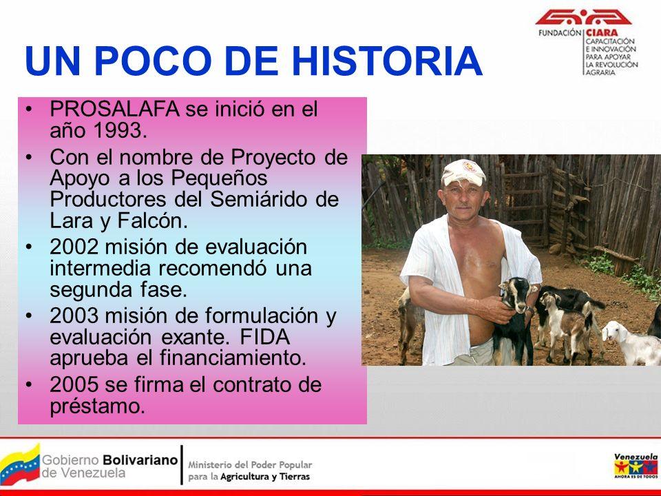 UN POCO DE HISTORIA PROSALAFA se inició en el año 1993. Con el nombre de Proyecto de Apoyo a los Pequeños Productores del Semiárido de Lara y Falcón.