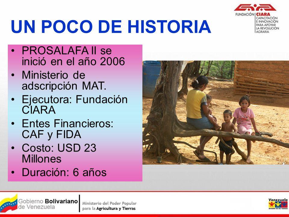 UN POCO DE HISTORIA PROSALAFA II se inició en el año 2006 Ministerio de adscripción MAT. Ejecutora: Fundación CIARA Entes Financieros: CAF y FIDA Cost