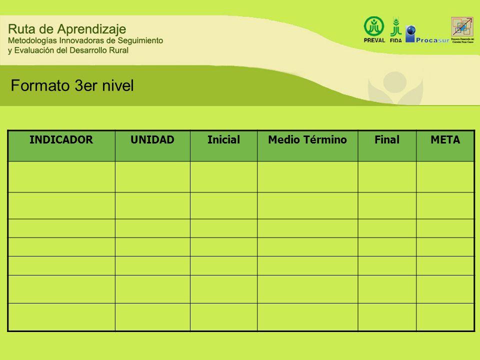 Formato 3er nivel INDICADORUNIDADInicialMedio TérminoFinalMETA