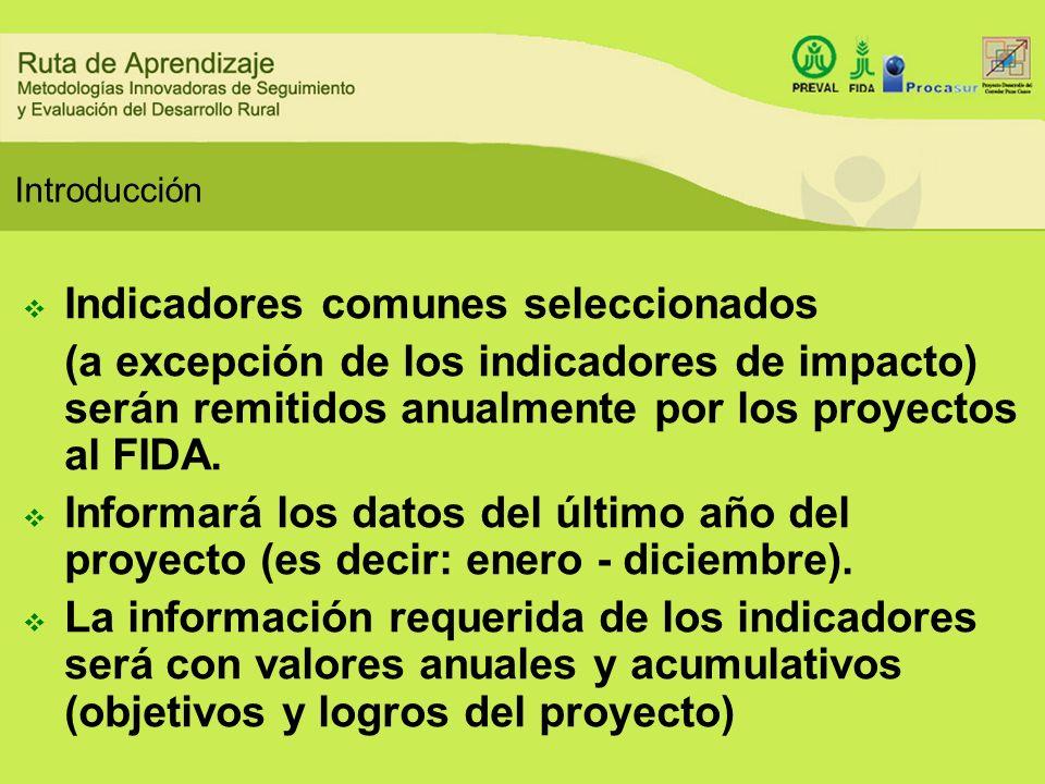 Introducción Indicadores comunes seleccionados (a excepción de los indicadores de impacto) serán remitidos anualmente por los proyectos al FIDA. Infor