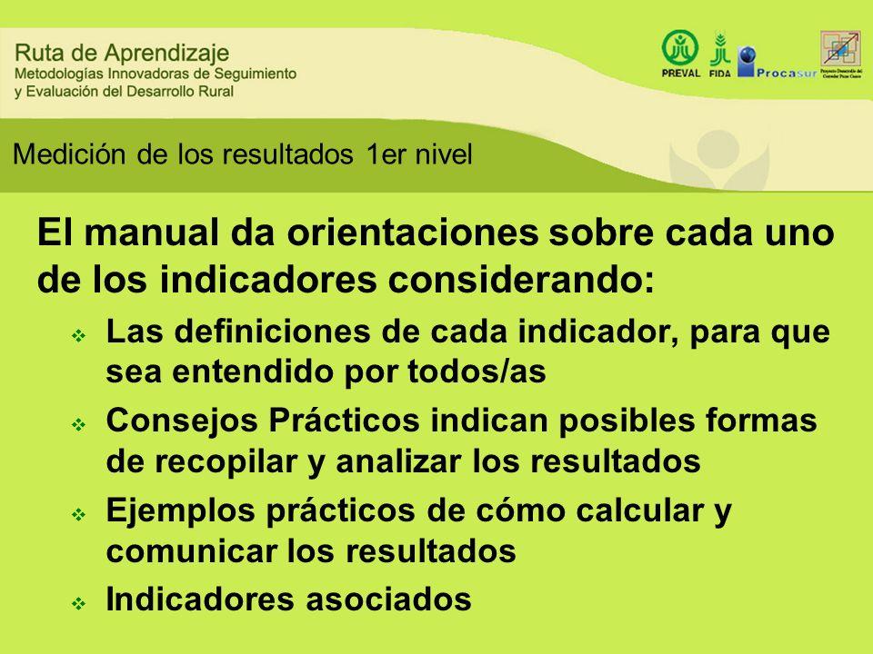 Medición de los resultados 1er nivel El manual da orientaciones sobre cada uno de los indicadores considerando: Las definiciones de cada indicador, pa