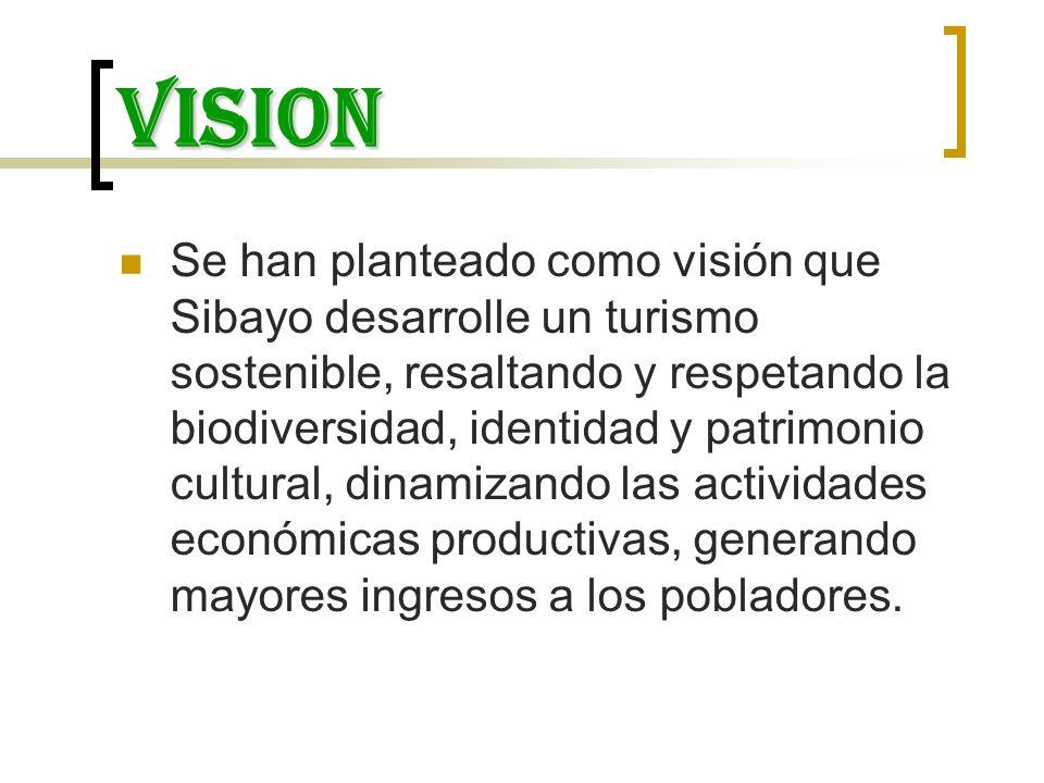 VISION Se han planteado como visión que Sibayo desarrolle un turismo sostenible, resaltando y respetando la biodiversidad, identidad y patrimonio cult