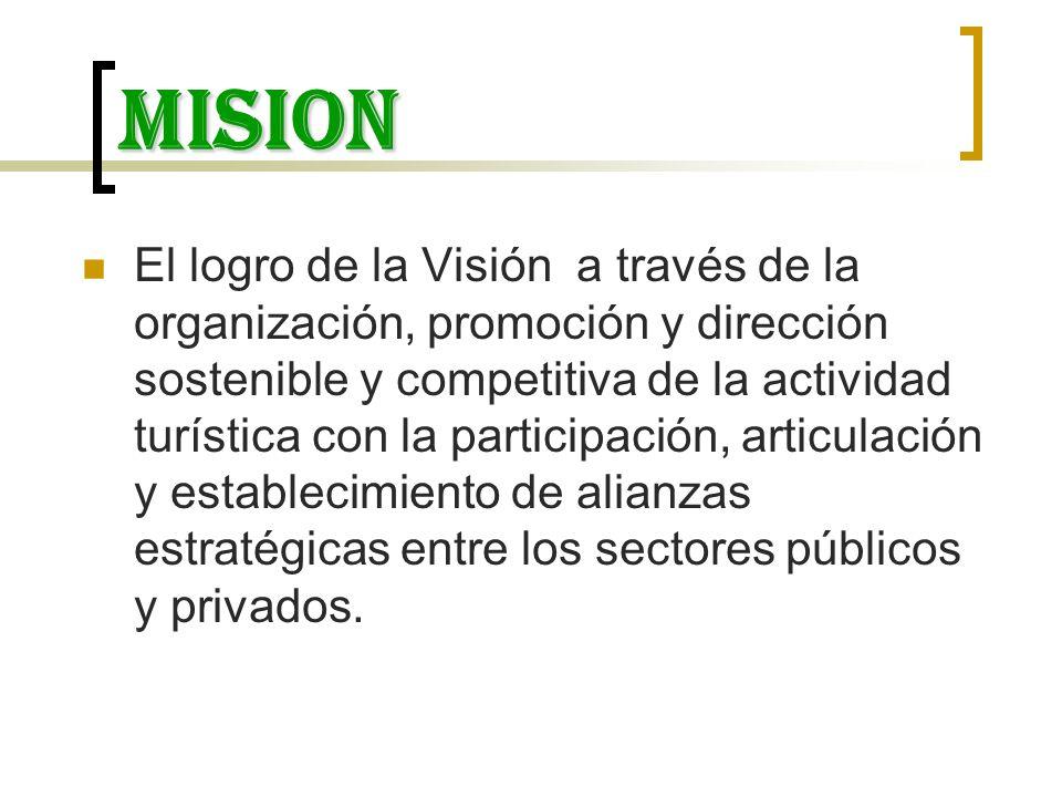 mision El logro de la Visión a través de la organización, promoción y dirección sostenible y competitiva de la actividad turística con la participació