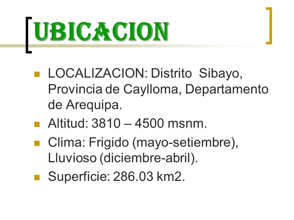 ubicacion LOCALIZACION: Distrito Sibayo, Provincia de Caylloma, Departamento de Arequipa. Altitud: 3810 – 4500 msnm. Clima: Frigido (mayo-setiembre),