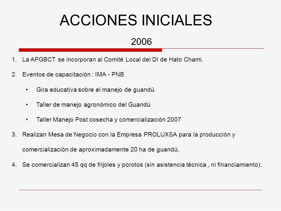 ACCIONES INICIALES 2006 1.La APGBCT se incorporan al Comité Local del DI de Hato Chami. 2.Eventos de capacitación : IMA - PNB Gira educativa sobre el