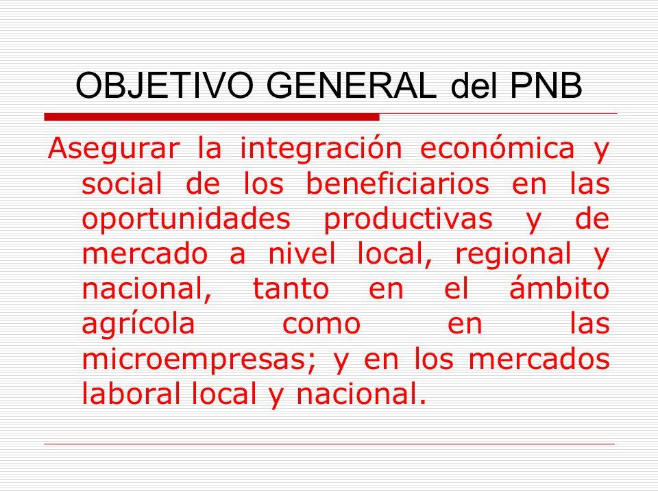 OBJETIVO GENERAL del PNB Asegurar la integración económica y social de los beneficiarios en las oportunidades productivas y de mercado a nivel local,