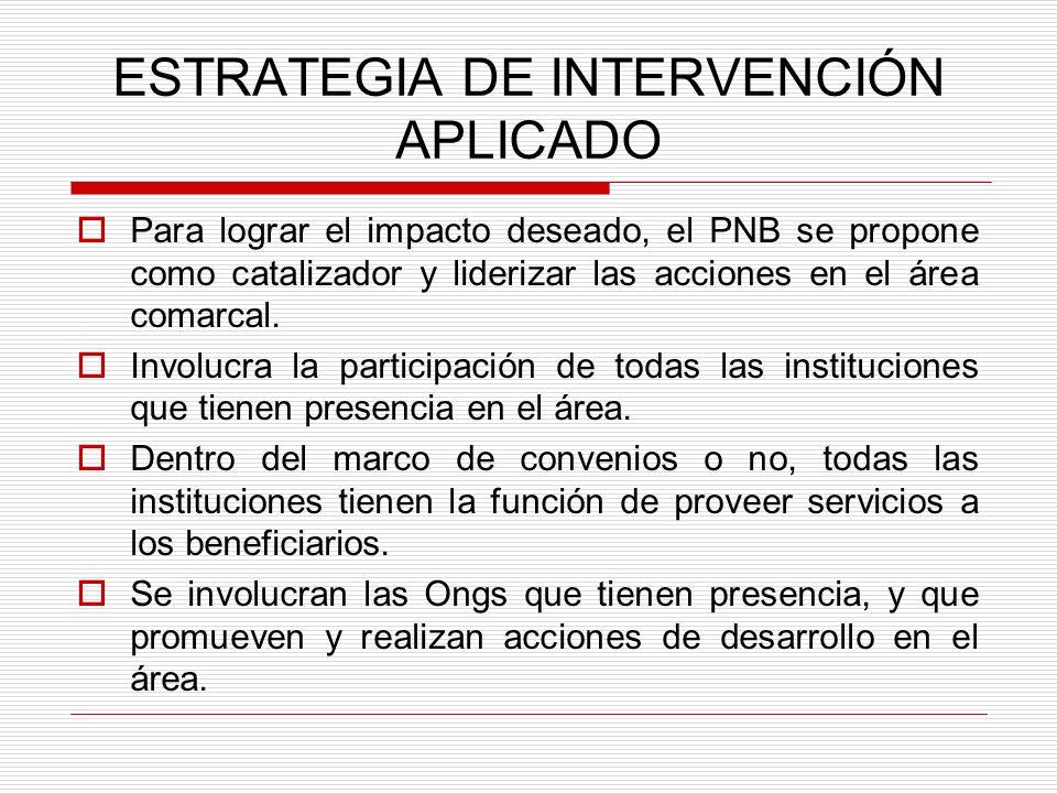 ESTRATEGIA DE INTERVENCIÓN APLICADO Para lograr el impacto deseado, el PNB se propone como catalizador y liderizar las acciones en el área comarcal. I