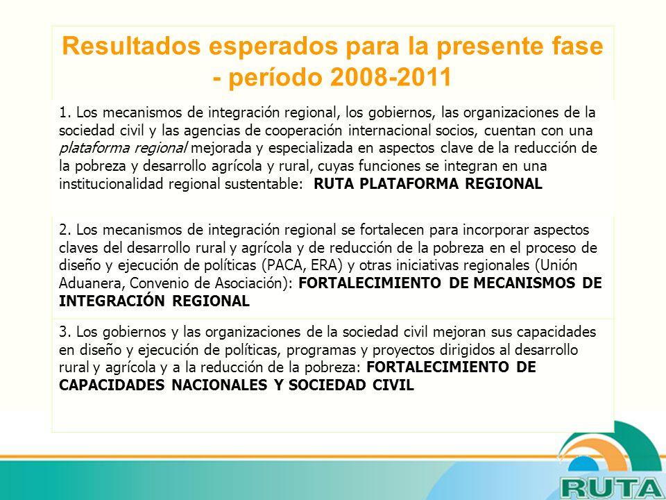Resultados esperados para la presente fase - período 2008-2011 1.