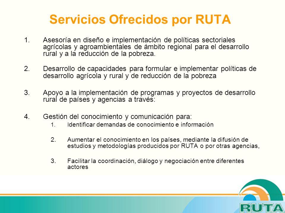 Servicios Ofrecidos por RUTA 1.Asesoría en diseño e implementación de políticas sectoriales agrícolas y agroambientales de ámbito regional para el desarrollo rural y a la reducción de la pobreza.