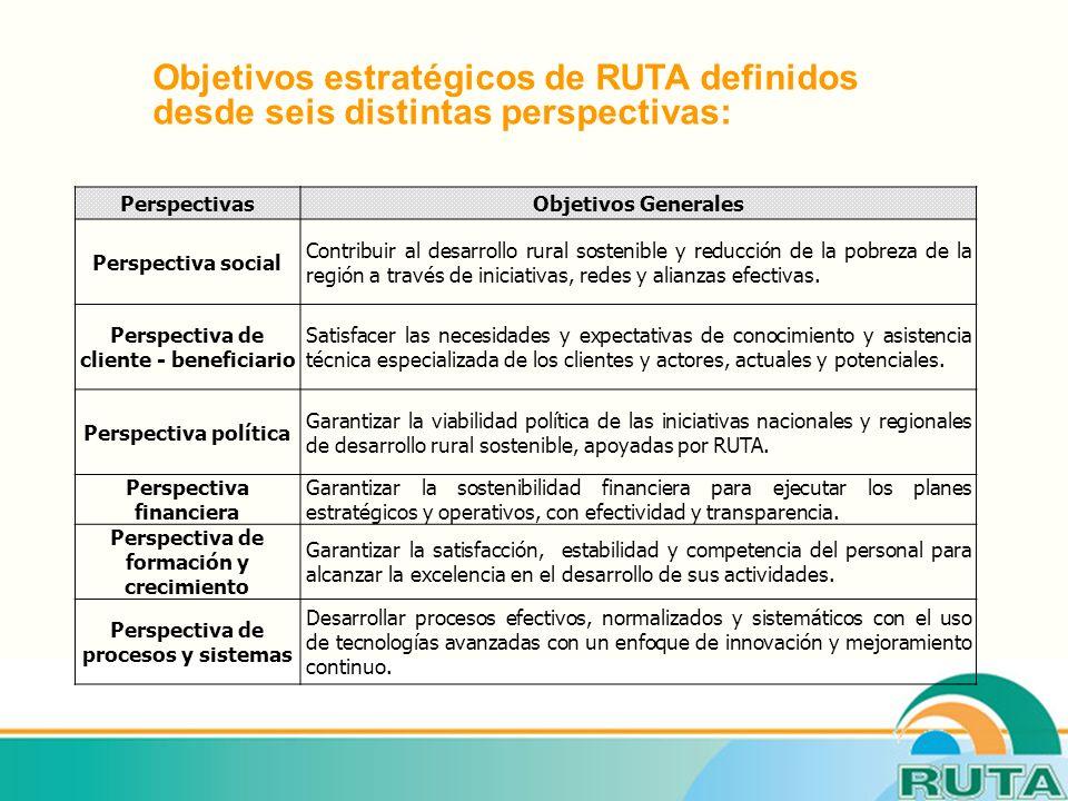 PerspectivasObjetivos Generales Perspectiva social Contribuir al desarrollo rural sostenible y reducción de la pobreza de la región a través de iniciativas, redes y alianzas efectivas.