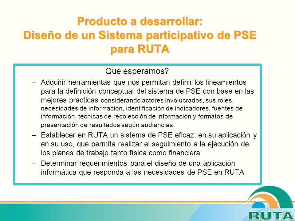 Producto a desarrollar: Diseño de un Sistema participativo de PSE para RUTA Que esperamos.