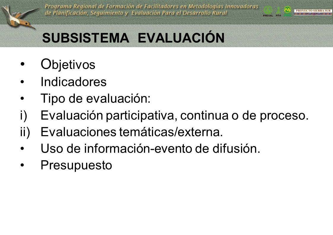SUBSISTEMA EVALUACIÓN O bjetivos Indicadores Tipo de evaluación: i)Evaluación participativa, continua o de proceso. ii)Evaluaciones temáticas/externa.