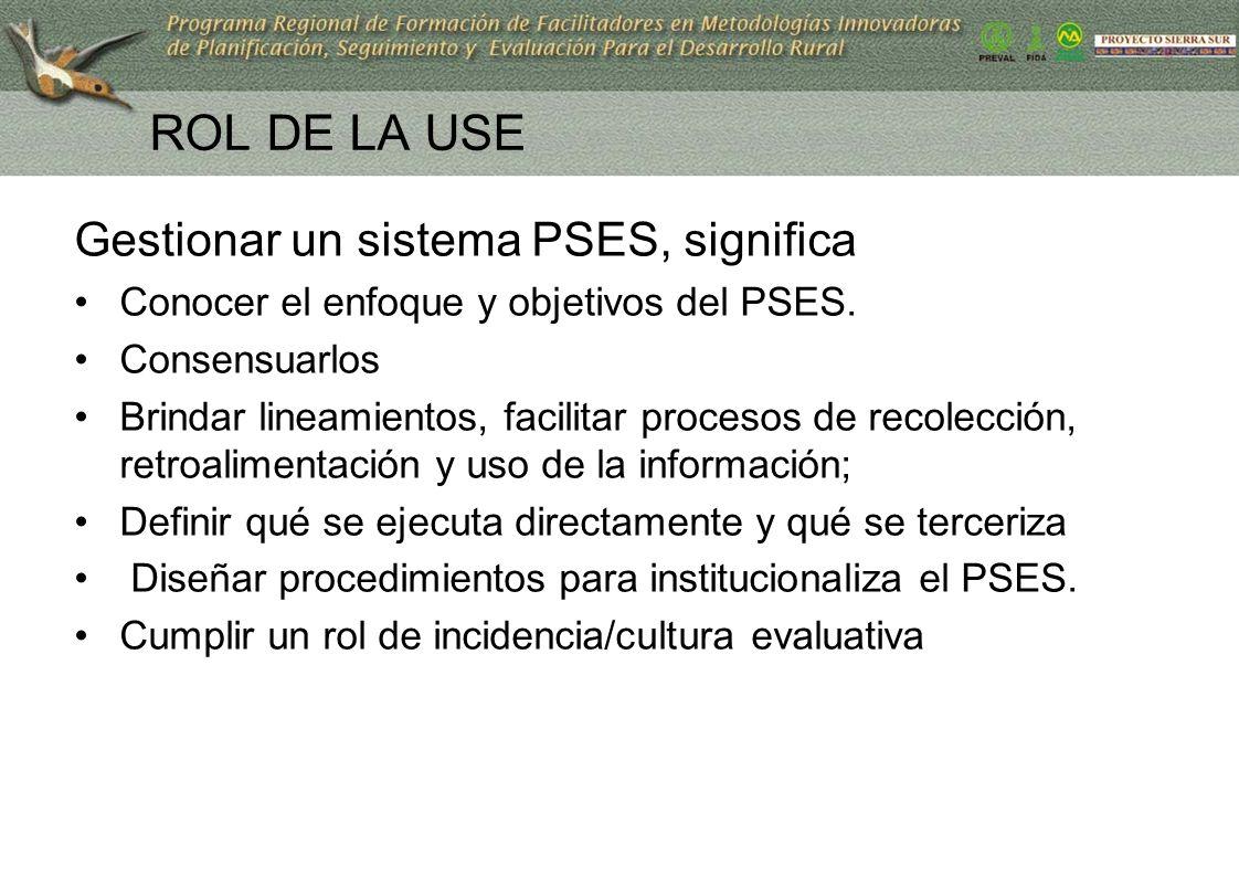 ROL DE LA USE Gestionar un sistema PSES, significa Conocer el enfoque y objetivos del PSES. Consensuarlos Brindar lineamientos, facilitar procesos de