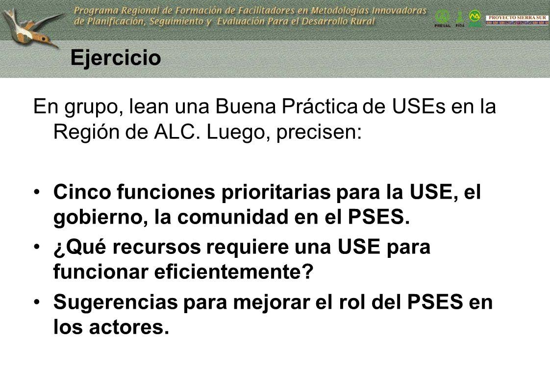 Ejercicio En grupo, lean una Buena Práctica de USEs en la Región de ALC. Luego, precisen: Cinco funciones prioritarias para la USE, el gobierno, la co