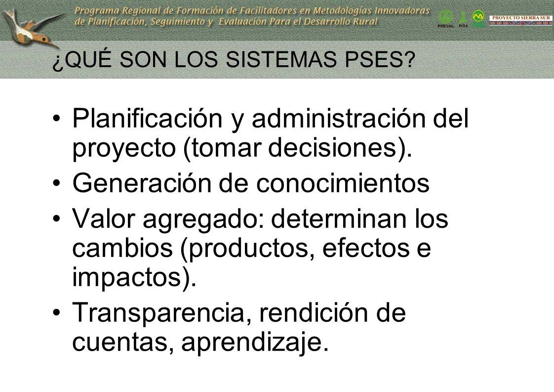 ¿QUÉ SON LOS SISTEMAS PSES? Planificación y administración del proyecto (tomar decisiones). Generación de conocimientos Valor agregado: determinan los