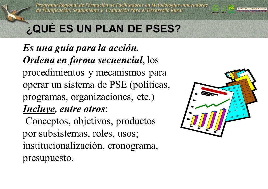 ¿QUÉ ES UN PLAN DE PSES? Es una guía para la acción. Ordena en forma secuencial, los procedimientos y mecanismos para operar un sistema de PSE (políti