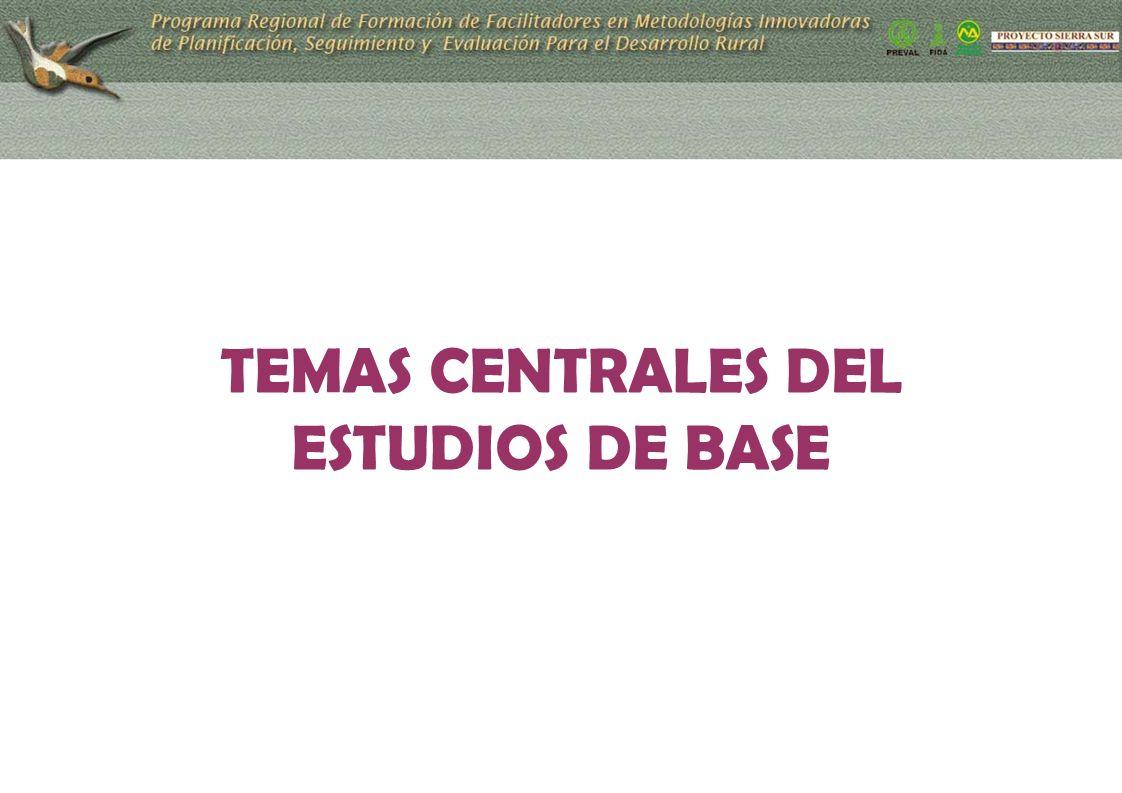 TEMAS CENTRALES DEL ESTUDIOS DE BASE