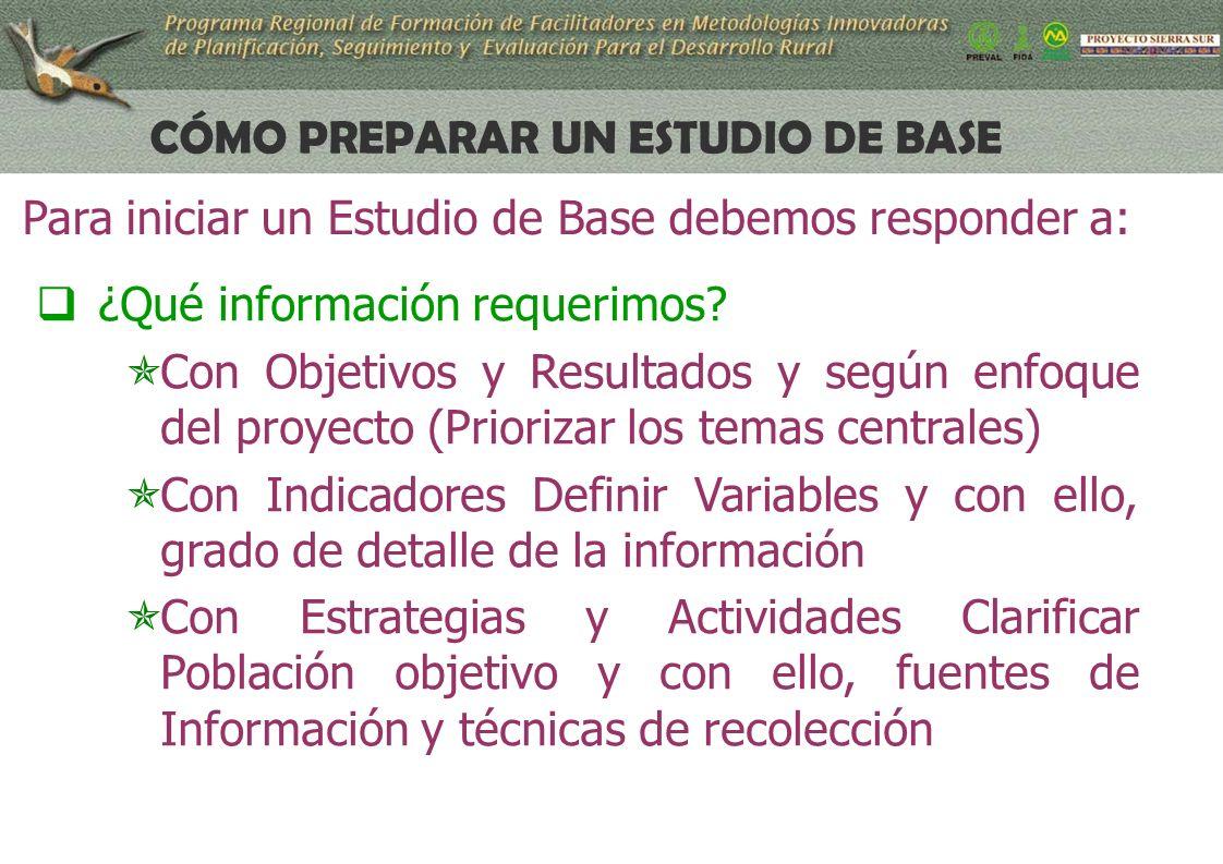 13 CÓMO PREPARAR UN ESTUDIO DE BASE ¿Qué información requerimos.