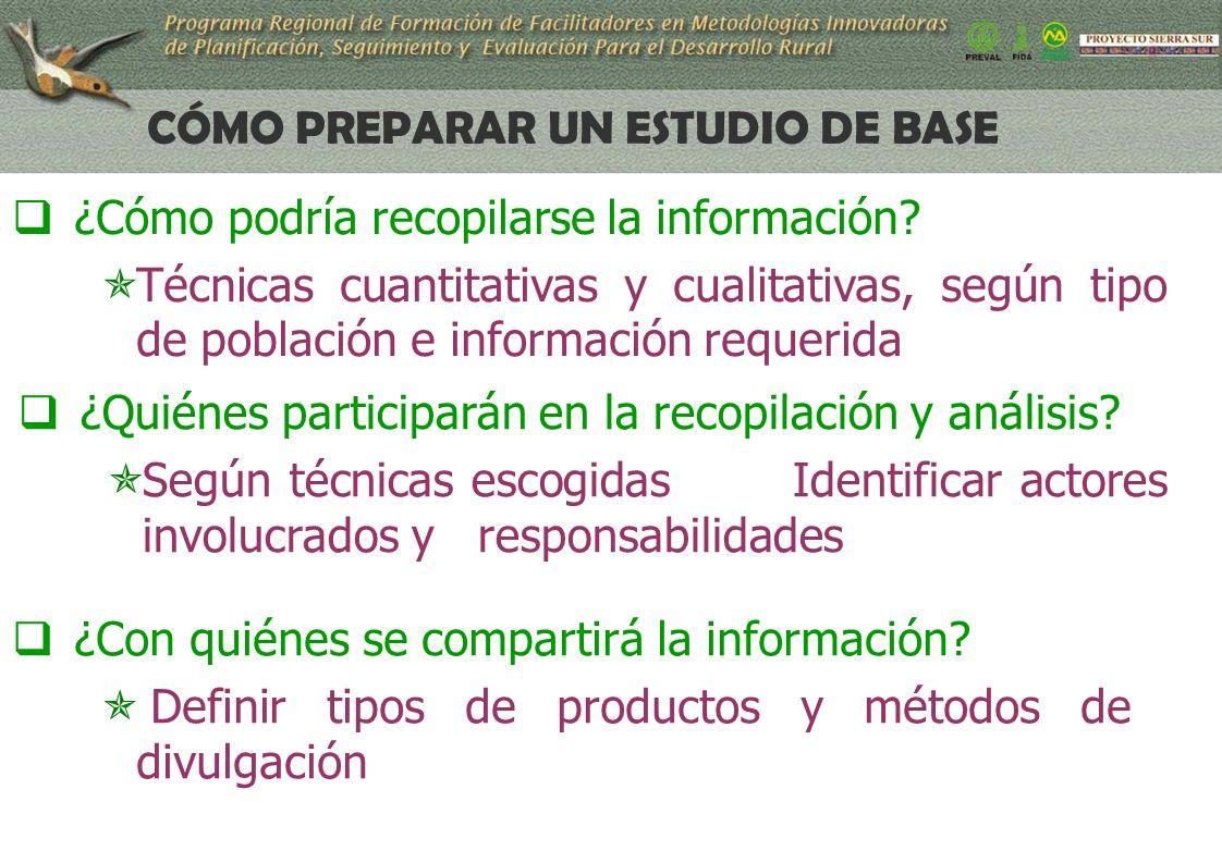 14 CÓMO PREPARAR UN ESTUDIO DE BASE ¿Cómo podría recopilarse la información.