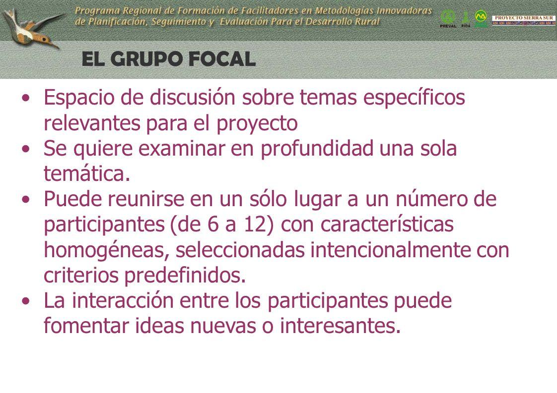 22 EL GRUPO FOCAL Espacio de discusión sobre temas específicos relevantes para el proyecto Se quiere examinar en profundidad una sola temática.