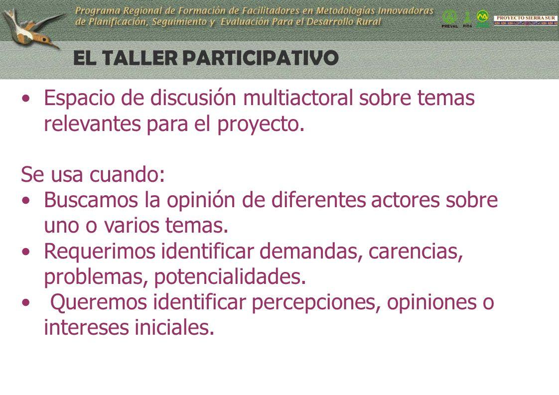 23 EL TALLER PARTICIPATIVO Espacio de discusión multiactoral sobre temas relevantes para el proyecto.