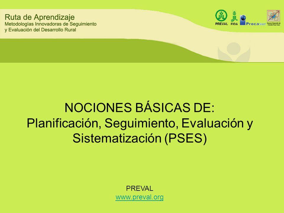 NOCIONES BÁSICAS DE: Planificación, Seguimiento, Evaluación y Sistematización (PSES) PREVAL www.preval.org