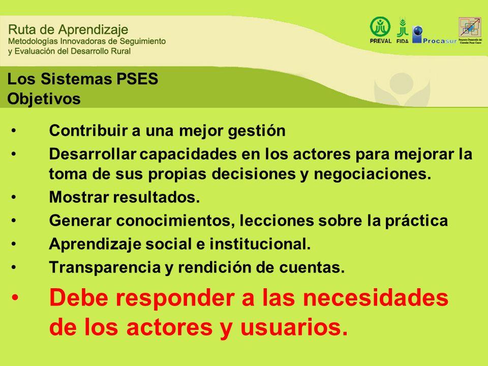 Los Sistemas PSES Objetivos Contribuir a una mejor gestión Desarrollar capacidades en los actores para mejorar la toma de sus propias decisiones y neg