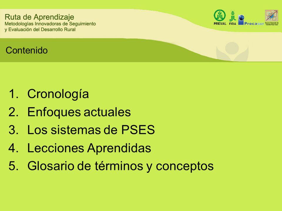 Contenido 1.Cronología 2.Enfoques actuales 3.Los sistemas de PSES 4.Lecciones Aprendidas 5.Glosario de términos y conceptos