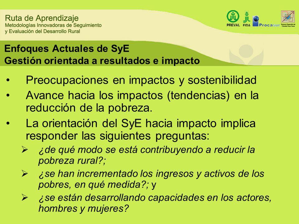 Enfoques Actuales de SyE Gestión orientada a resultados e impacto Preocupaciones en impactos y sostenibilidad Avance hacia los impactos (tendencias) e