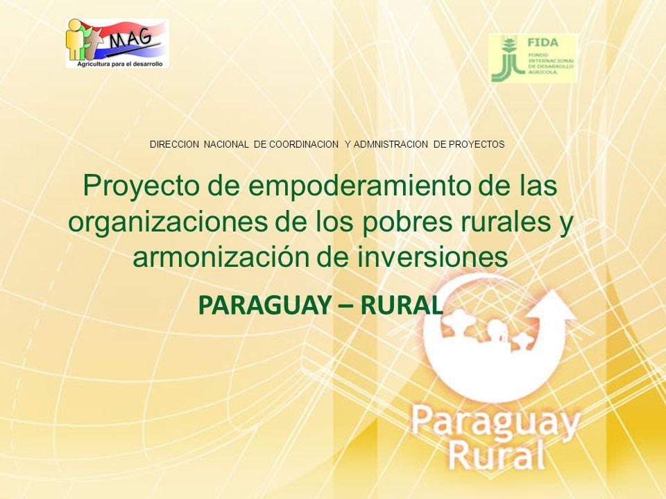 OBJETIVO Asegurar a los pequeños productores rurales, y a sus organizaciones fortalecidas, el acceso a los recursos productivos y a los servicios técnicos y financieros ya disponibles en el área del proyecto e incorporar a los beneficiarios en los procesos nacionales de desarrollo socioeconómicos