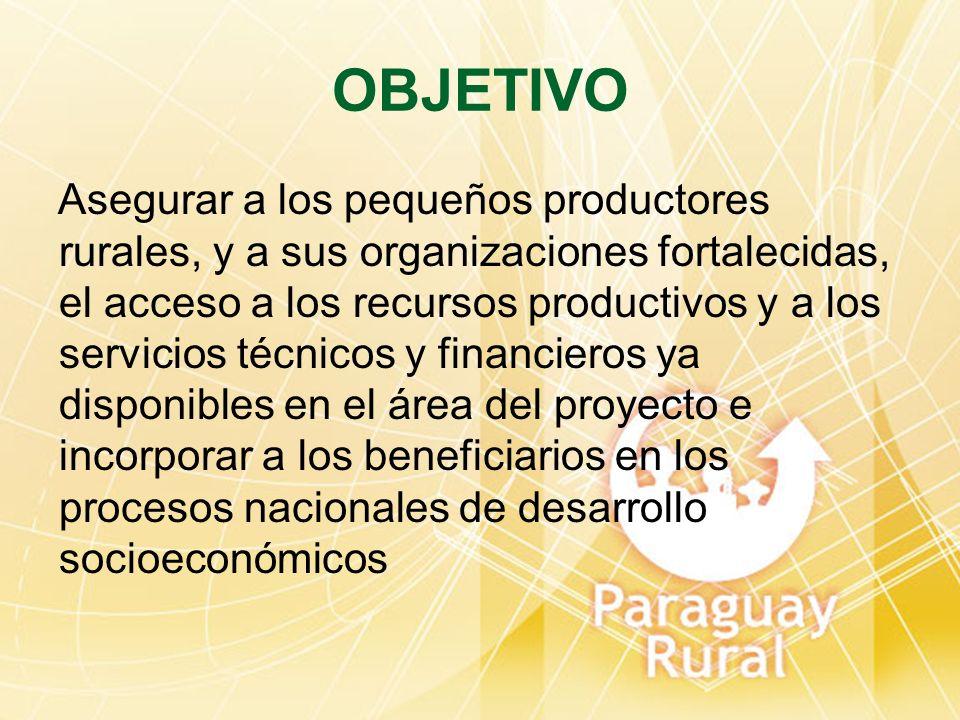OBJETIVO Asegurar a los pequeños productores rurales, y a sus organizaciones fortalecidas, el acceso a los recursos productivos y a los servicios técn
