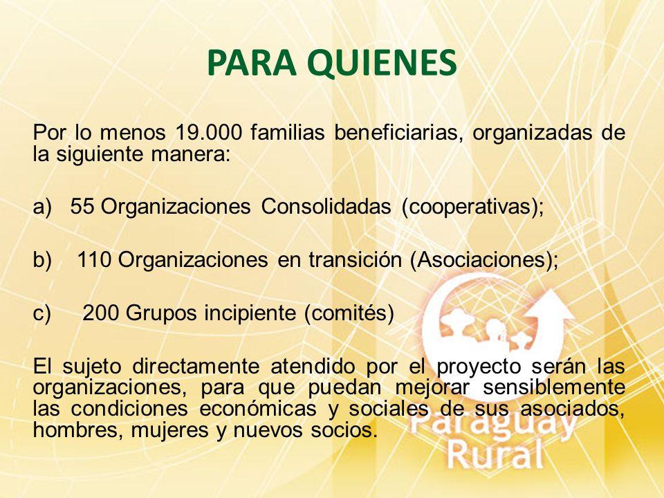 PARA QUIENES Por lo menos 19.000 familias beneficiarias, organizadas de la siguiente manera: a)55 Organizaciones Consolidadas (cooperativas); b) 110 O