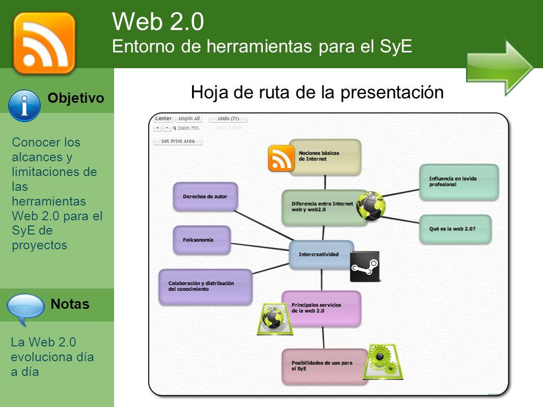 Web 2.0 Entorno de herramientas para el SyE Hoja de ruta de la presentación Objetivo Conocer los alcances y limitaciones de las herramientas Web 2.0 p