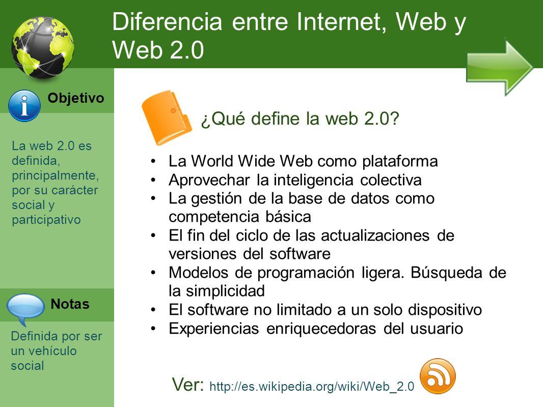 La web 2.0 es definida, principalmente, por su carácter social y participativo Definida por ser un vehículo social ¿Qué define la web 2.0? Diferencia