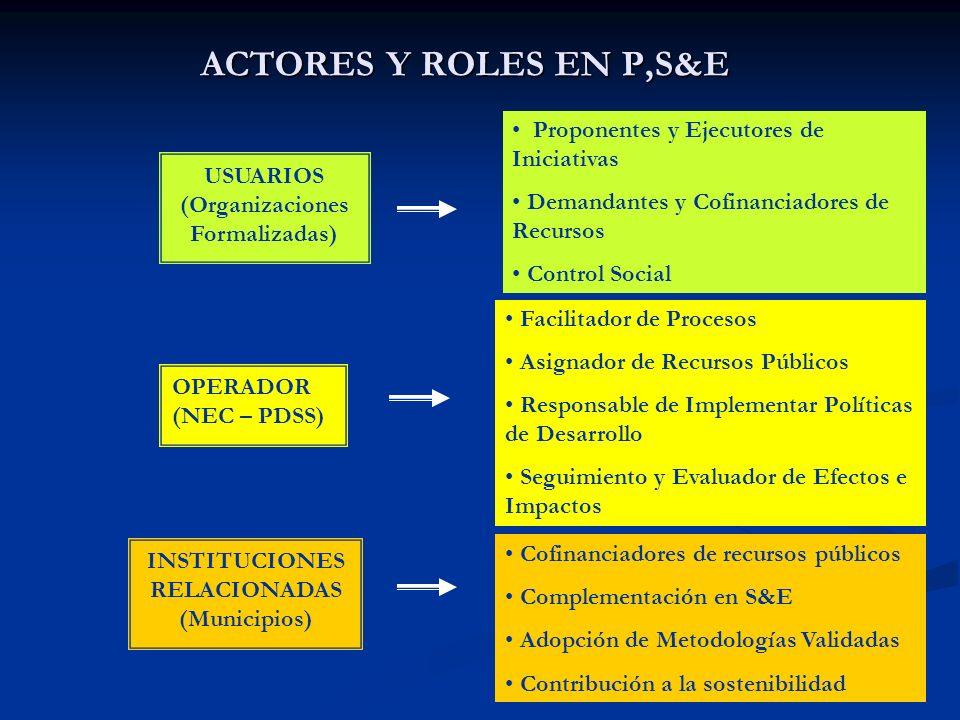 ACTORES Y ROLES EN P,S&E USUARIOS (Organizaciones Formalizadas) OPERADOR (NEC – PDSS) INSTITUCIONES RELACIONADAS (Municipios) Proponentes y Ejecutores