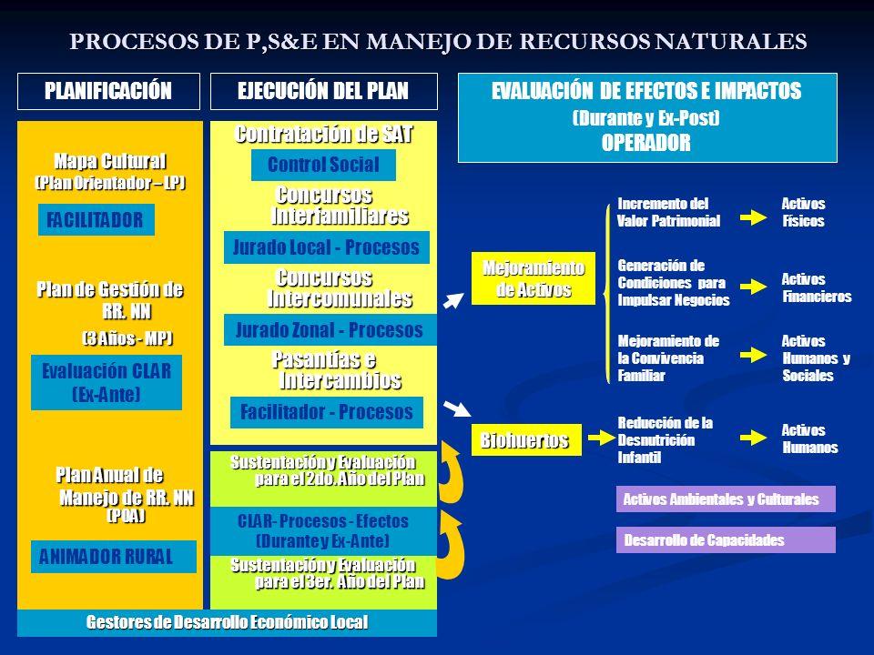 PROCESOS DE P,S&E EN MANEJO DE RECURSOS NATURALES Mapa Cultural (Plan Orientador – LP) Plan de Gestión de RR. NN (3 Años - MP) (3 Años - MP) Plan Anua