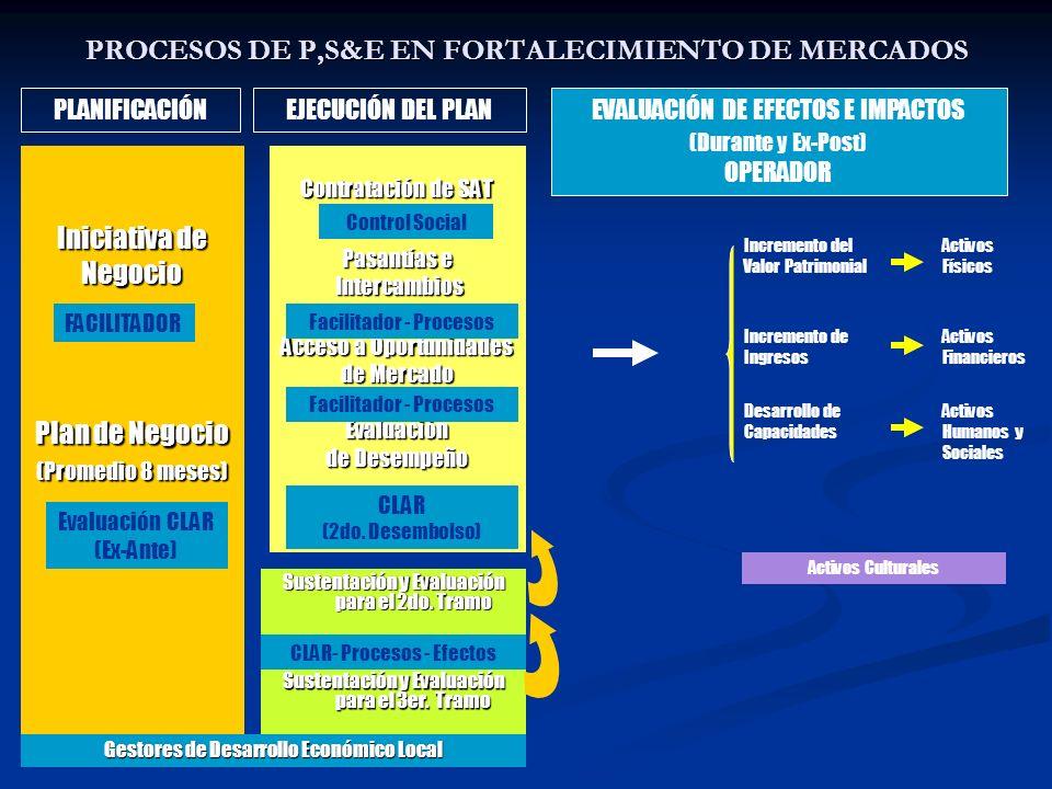 PROCESOS DE P,S&E EN FORTALECIMIENTO DE MERCADOS Iniciativa de Negocio Plan de Negocio (Promedio 8 meses) (Promedio 8 meses) Contratación de SAT Pasan