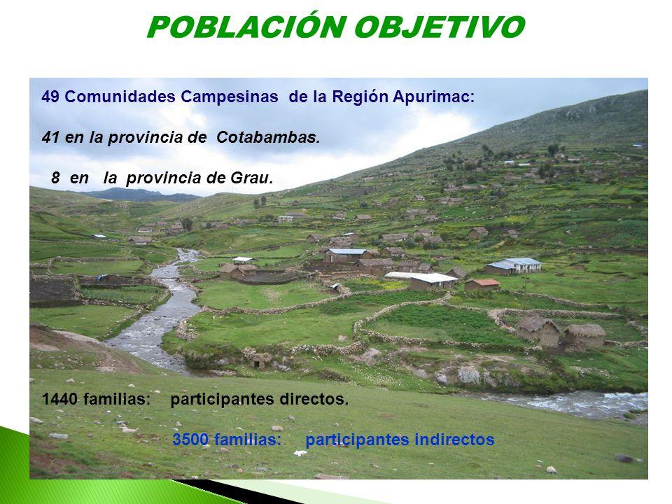 POBLACIÓN OBJETIVO 49 Comunidades Campesinas de la Región Apurimac: 41 en la provincia de Cotabambas. 8 en la provincia de Grau. 1440 familias: partic