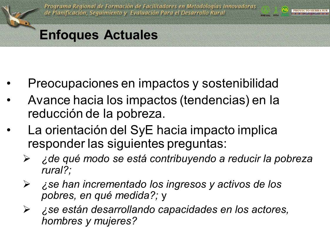 11 Enfoques Actuales Preocupaciones en impactos y sostenibilidad Avance hacia los impactos (tendencias) en la reducción de la pobreza. La orientación