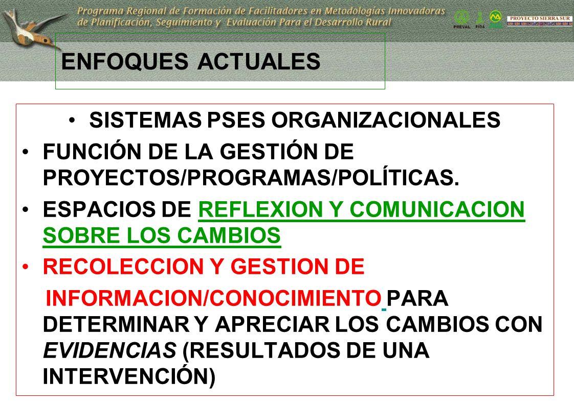 13 ENFOQUES ACTUALES SISTEMAS PSES ORGANIZACIONALES FUNCIÓN DE LA GESTIÓN DE PROYECTOS/PROGRAMAS/POLÍTICAS. ESPACIOS DE REFLEXION Y COMUNICACION SOBRE