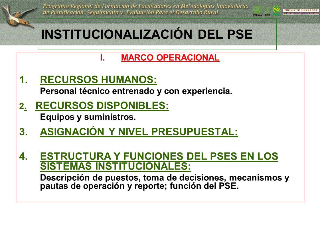17 INSTITUCIONALIZACIÓN DEL PSE I.MARCO OPERACIONAL 1.RECURSOS HUMANOS: Personal técnico entrenado y con experiencia. 2. RECURSOS DISPONIBLES: Equipos