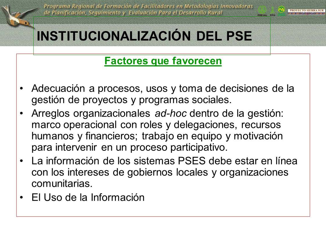 21 INSTITUCIONALIZACIÓN DEL PSE Factores que favorecen Adecuación a procesos, usos y toma de decisiones de la gestión de proyectos y programas sociale
