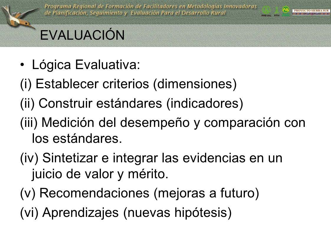 29 EVALUACIÓN Lógica Evaluativa: (i) Establecer criterios (dimensiones) (ii) Construir estándares (indicadores) (iii) Medición del desempeño y compara