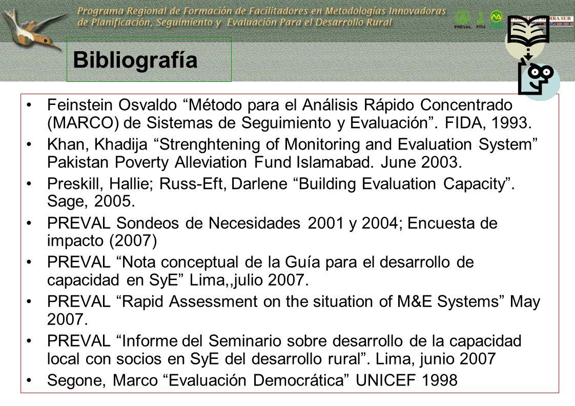 33 Bibliografía Feinstein Osvaldo Método para el Análisis Rápido Concentrado (MARCO) de Sistemas de Seguimiento y Evaluación. FIDA, 1993. Khan, Khadij