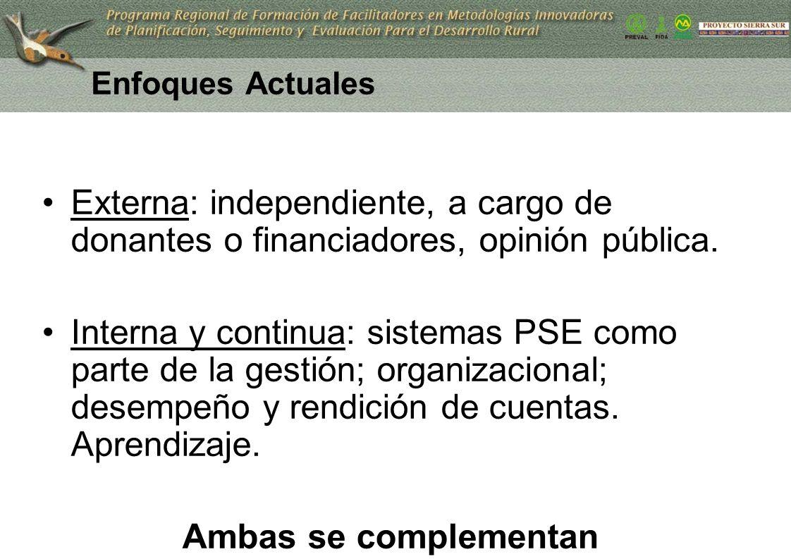 9 Enfoques Actuales Externa: independiente, a cargo de donantes o financiadores, opinión pública. Interna y continua: sistemas PSE como parte de la ge