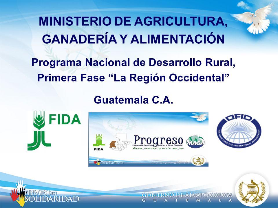 MINISTERIO DE AGRICULTURA, GANADERÍA Y ALIMENTACIÓN Programa Nacional de Desarrollo Rural, Primera Fase La Región Occidental Guatemala C.A.