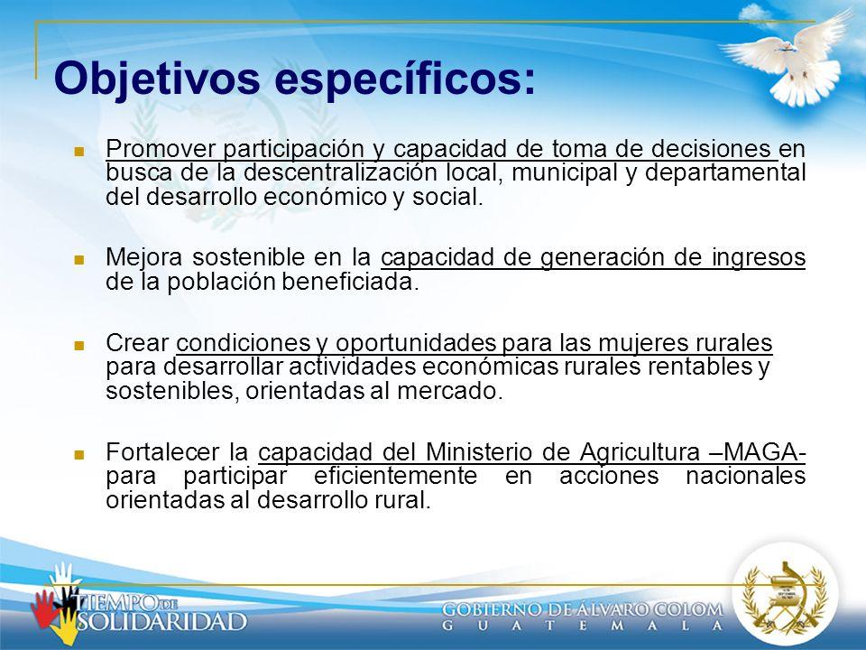 Objetivos específicos: Promover participación y capacidad de toma de decisiones en busca de la descentralización local, municipal y departamental del