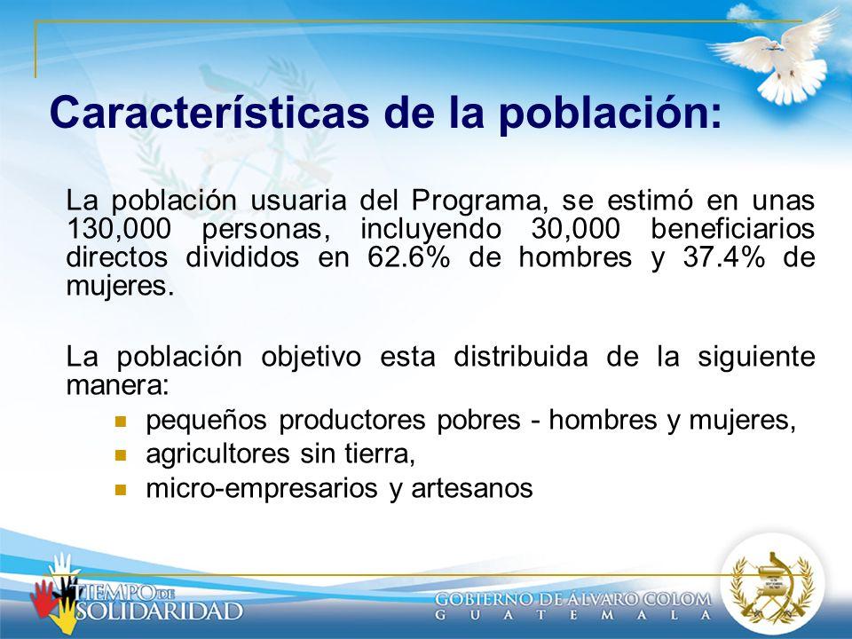 Características de la población: La población usuaria del Programa, se estimó en unas 130,000 personas, incluyendo 30,000 beneficiarios directos divid