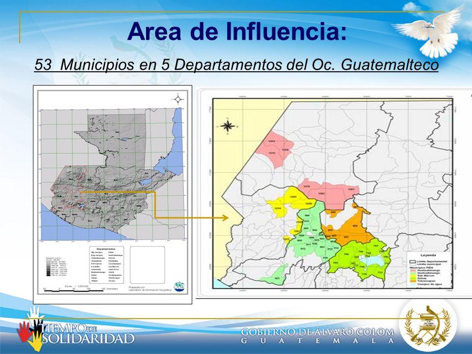 Area de Influencia: 53 Municipios en 5 Departamentos del Oc. Guatemalteco
