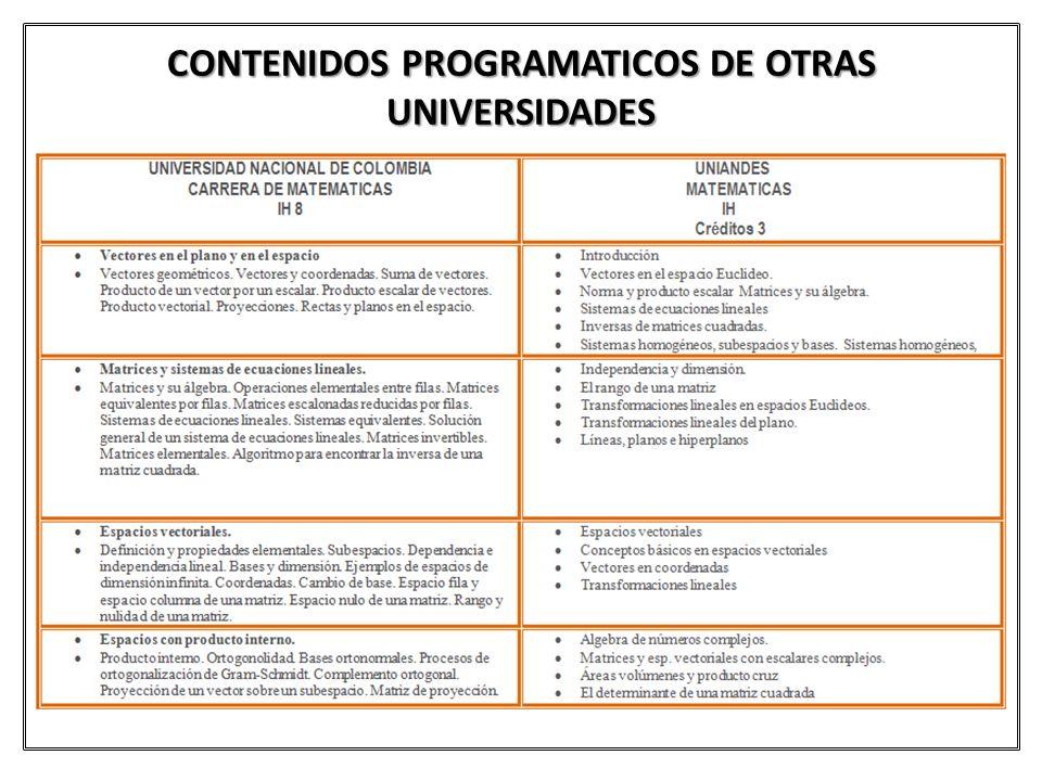 CONTENIDOS PROGRAMATICOS DE OTRAS UNIVERSIDADES